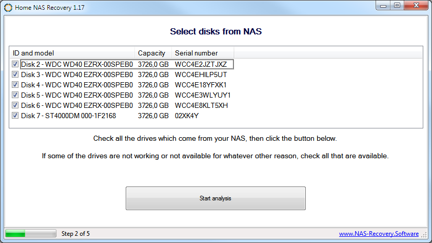 Select NAS disks in Home NAS Recovery software